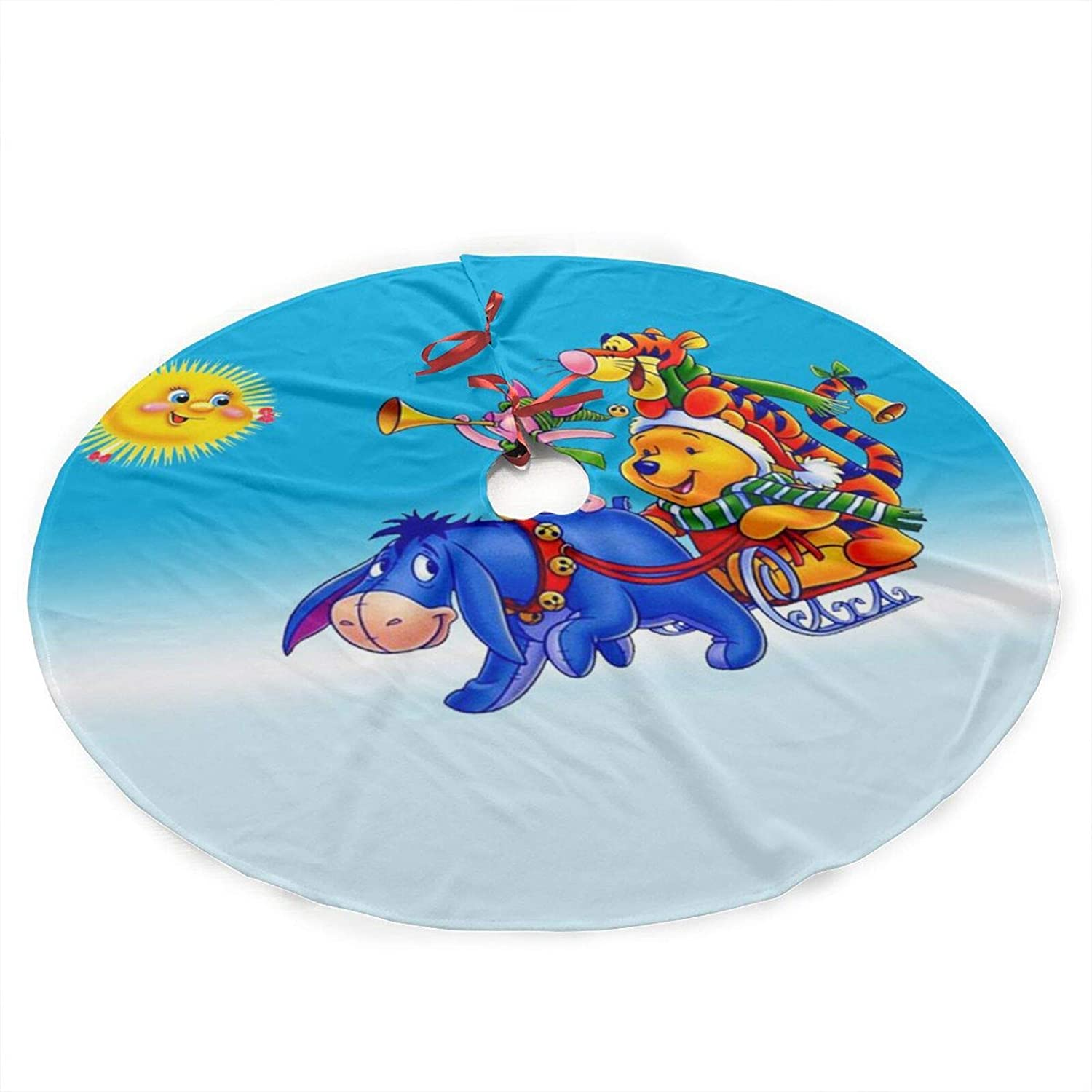 Dazhenfzd Tigger and Eeyore Plush Fabric Christmas Tree Skirt 36 Inch Holiday Home Decor ,Soft, Light and Good to Touch