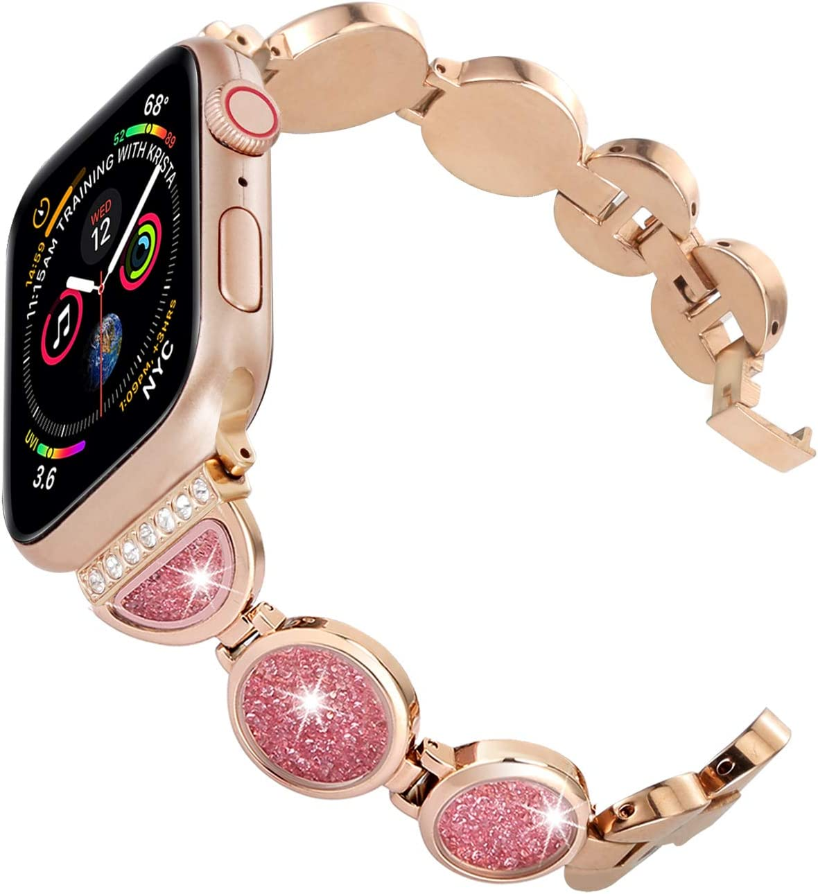Ritastar for Apple Watch Band Bracelet Stainless Steel 44mm 42mm,Replacement Accessories Jewelry Rhinestone Strap Wrist Bands,Shifting Diamonds,Adjustable Metal Buckle for Series 5 4 3 2 1,Rose Gold