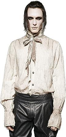Nueva Camisa Holgada Pirata gótica de los años 80, Blanca/Negra: Amazon.es: Ropa y accesorios
