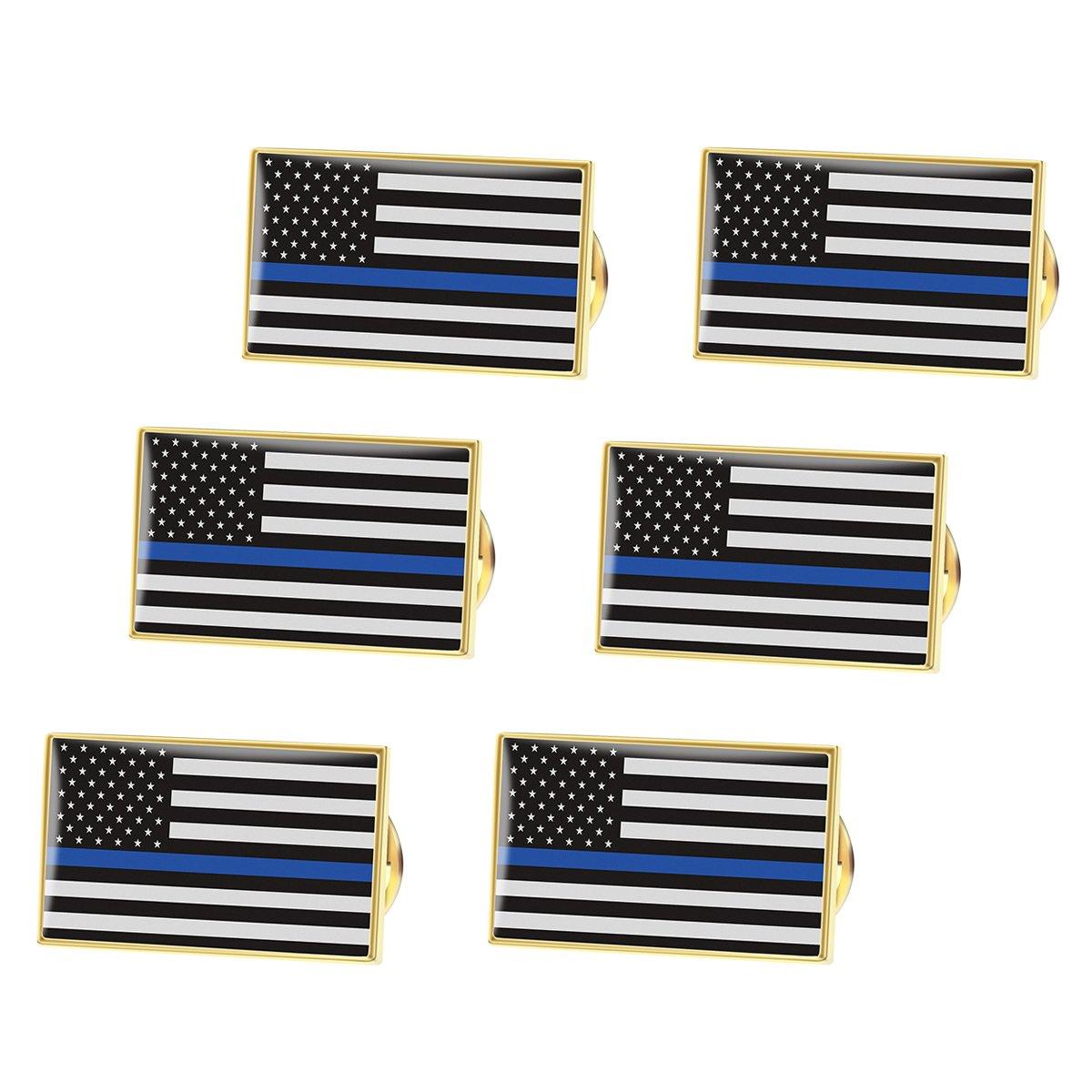 BESTOMZ Americano Bandera Pin Delgada línea Azul Policía Pin de ...