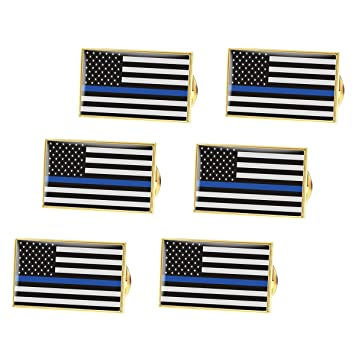 3 Pack Thin Red Blue Line American Flag Police Fire Fighter Lapel Pins Tie Tacks