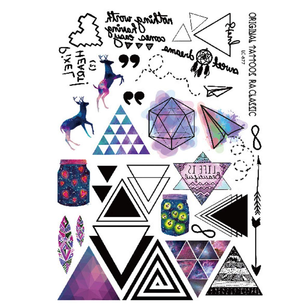 Quistal-Tatouage Temporaire Tattoos /Étanche 21 x 15 cm,Motifs vari/és pour Adulte Enfants Femme Homme Tattoos /Étanche,Bras Poignet Body Tattoo Sticker Tatouages /éph/ém/ères,Motifs vari/é
