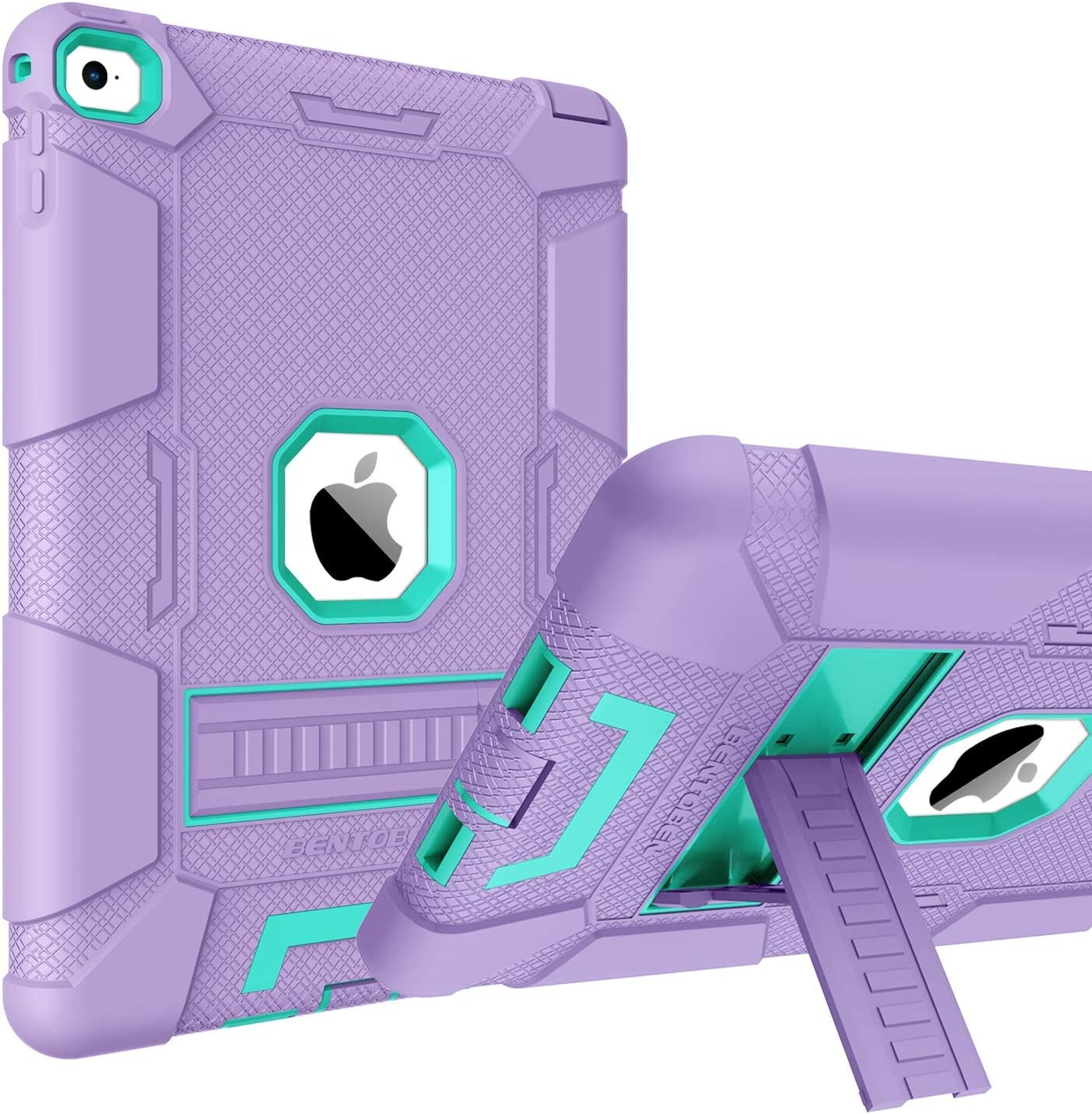 BENTOBEN Case for iPad Air 2, Hybrid Shockproof Cases with Kickstand Rugged Triple-Layer Shock Resistant Drop Proof Protective Tablet Cover for iPad Air 2 (A1566 A1567) 2014 Released, Purple/Green