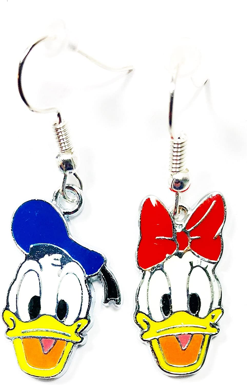 Disney Mickey head or Donald head dangle hoop earrings