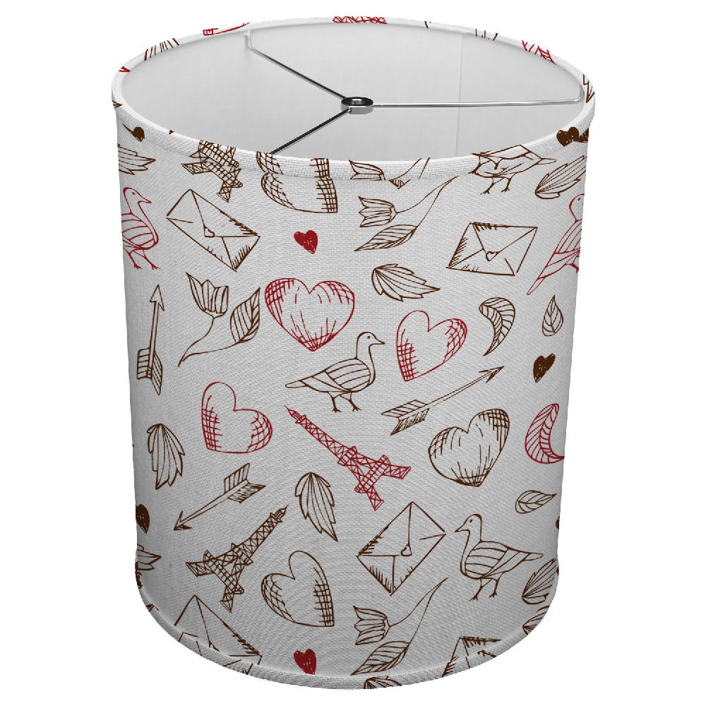 Hardback Linen Drum Cylinder Lamp Shade 8'' x 8'' x 8'' Spider Construction [ I Love Paris Eifel Tower ]