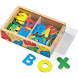 Melissa & Doug 448 52 Wooden Alphabet Magnets in a Box - Uppercase and Lowercase Letters