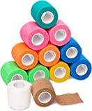 Self Adherent Cohesive Wrap Bandages (12-Pack) - 2inch-Wide 5yds Self Adhesive Non Woven Bandage Rolls - Multi Colored…