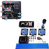 水冷キット Acouto DIY 120 / 240mm ヒートシンク CPUウォーターブロック ウォーターポンプ LEDファン ウォータークーリングキット 硬質チューブ 液体CPUクーラーキット 水冷システム