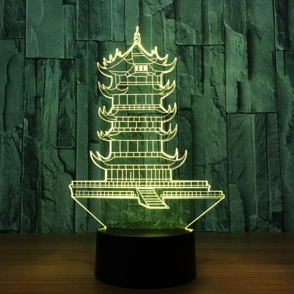 Medio Pagoda Leifeng Forma Faro Nocturno Cambio de Color de la luz Interruptor táctil Lámpara de Mesa Decorativa Juguete Decoración Regalo