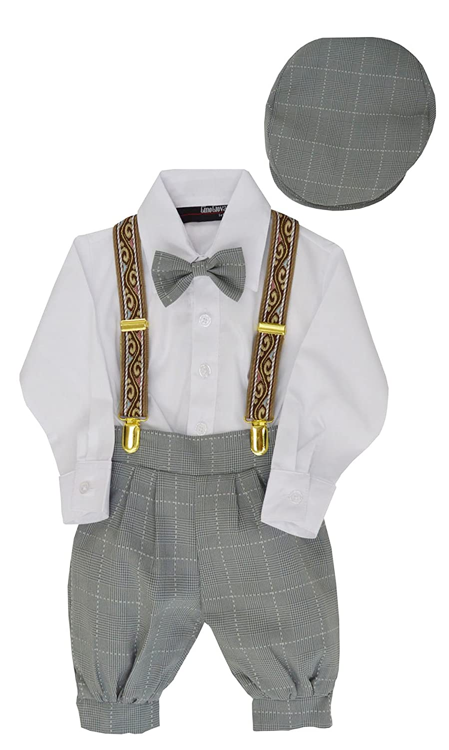 1930s Childrens Fashion: Girls, Boys, Toddler, Baby Costumes Gino Giovanni Boys Vintage Style Knickers Outfit Suspenders Set $29.99 AT vintagedancer.com