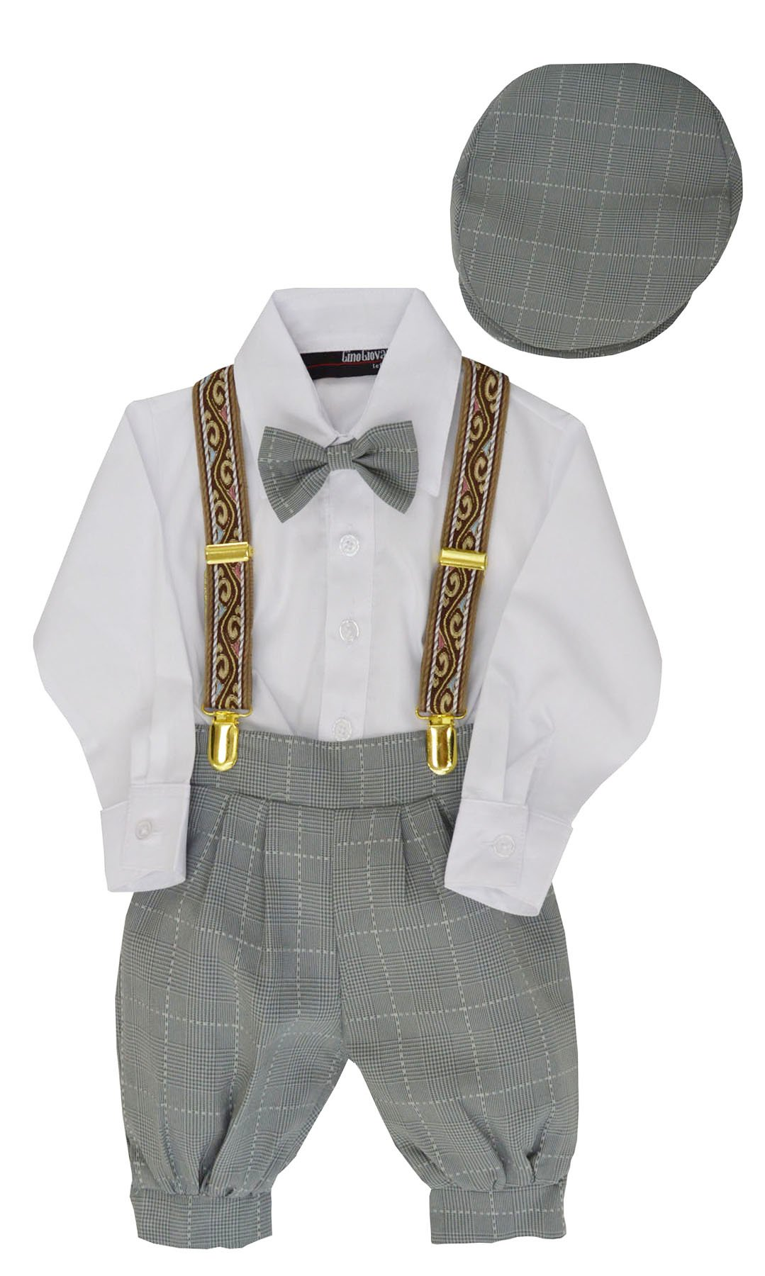G284 Boys Vintage Knickers Outfit Suspenders (Large/12-18 Months, Silver)