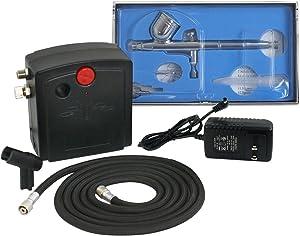 BBBuy Multi-Purpose Mini Airbrush Air Compressor Kit, Dual Action Cake Spray Gun Portable Air Brush Set Tattoo Nail Tool Set (TC-100K)