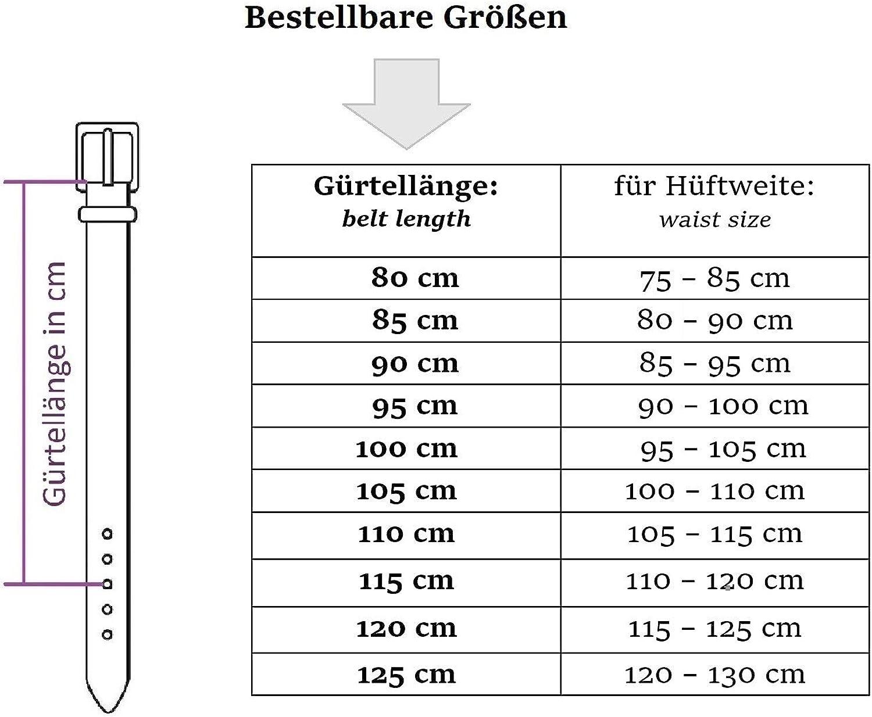 Noir fabriqu/é en Allemagne 100/% cuir v/éritable 3 cm de large et 0,25 cm d/épaisseur Frentree Ceinture en cuir