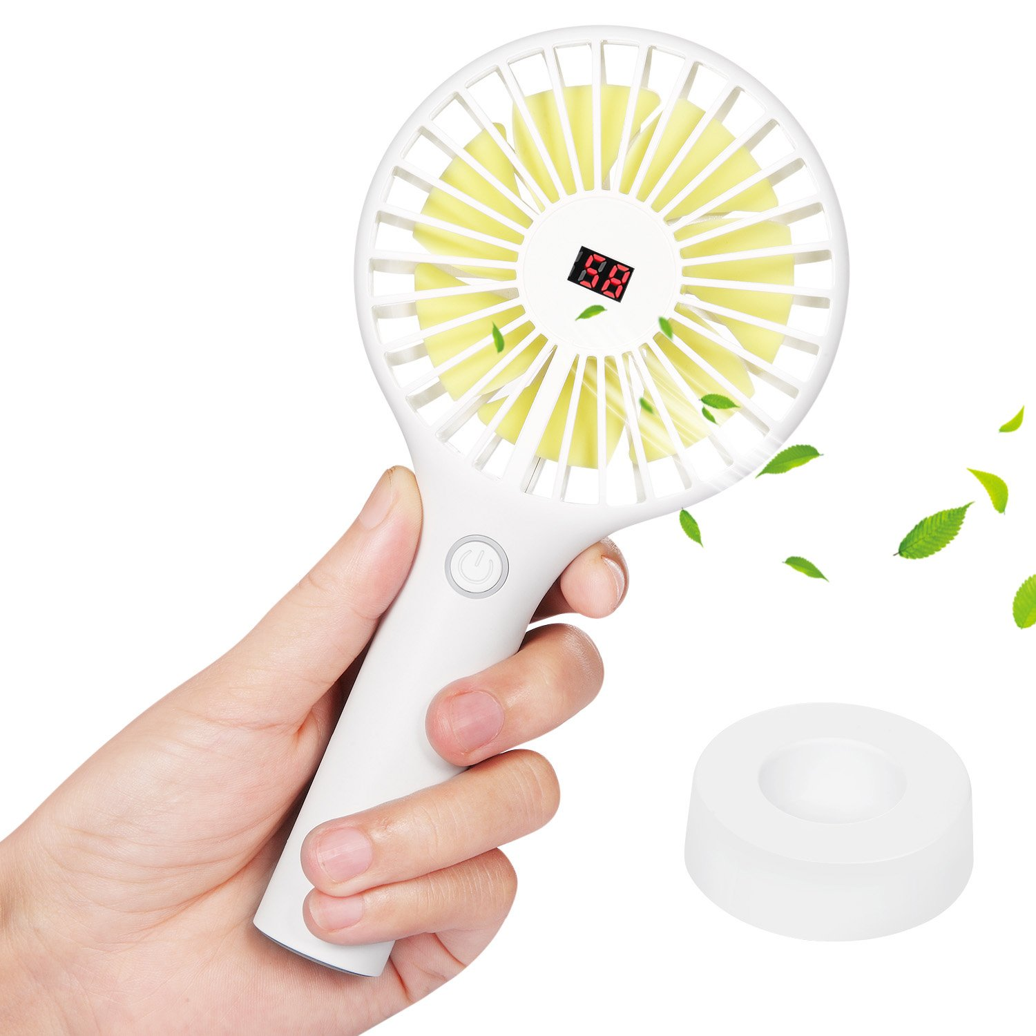 Skyreat Portable Mini Personal Battery Handheld Fan LCD Dispaly Design, Rechargeable USB 2500mAh Battery Operated Hand Fan Strong Wind Travel Home Office