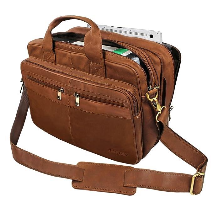 063d20528f0b64 STILORD 'Alexander' Borsa da lavoro uomo pelle marrone portadocumenti  grande borsa porta PC ventiquattrore