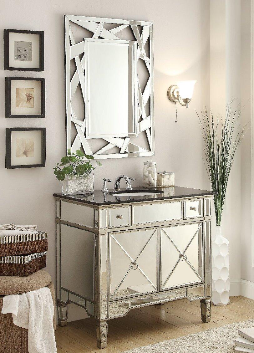 Mirrored bathroom vanity - 36 All Mirrored Reflection Ashlyn Bathroom Sink Vanity Model Yr 023g 36 Amazon Com
