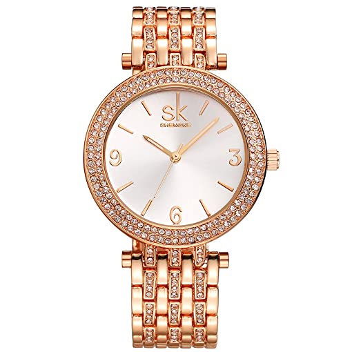 Amazoncom SK Womens Watches Rose Gold Stainless Steel Jewelry
