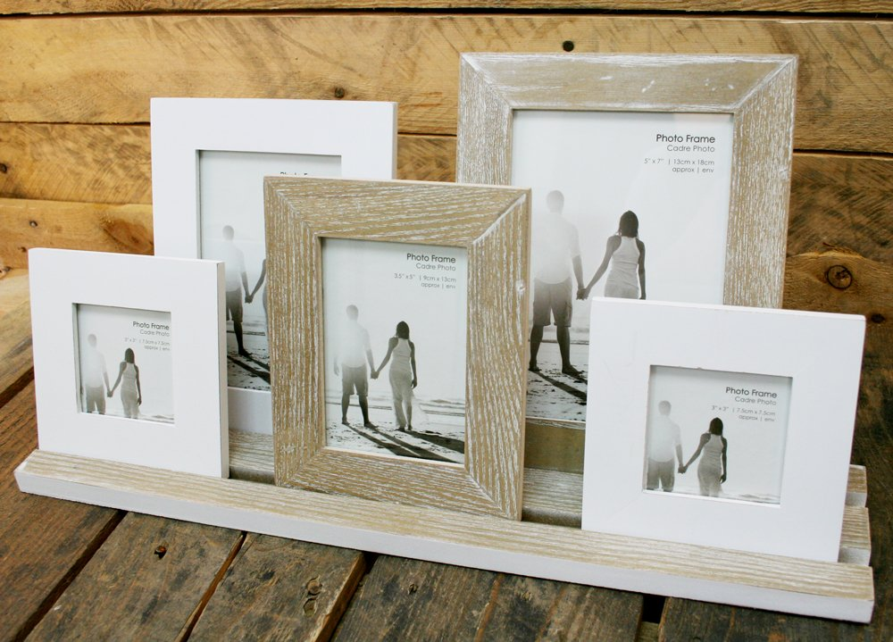 Amazon.de: Rustic 5 Wooden Photo Frames On Tray ~ Finished In A ...