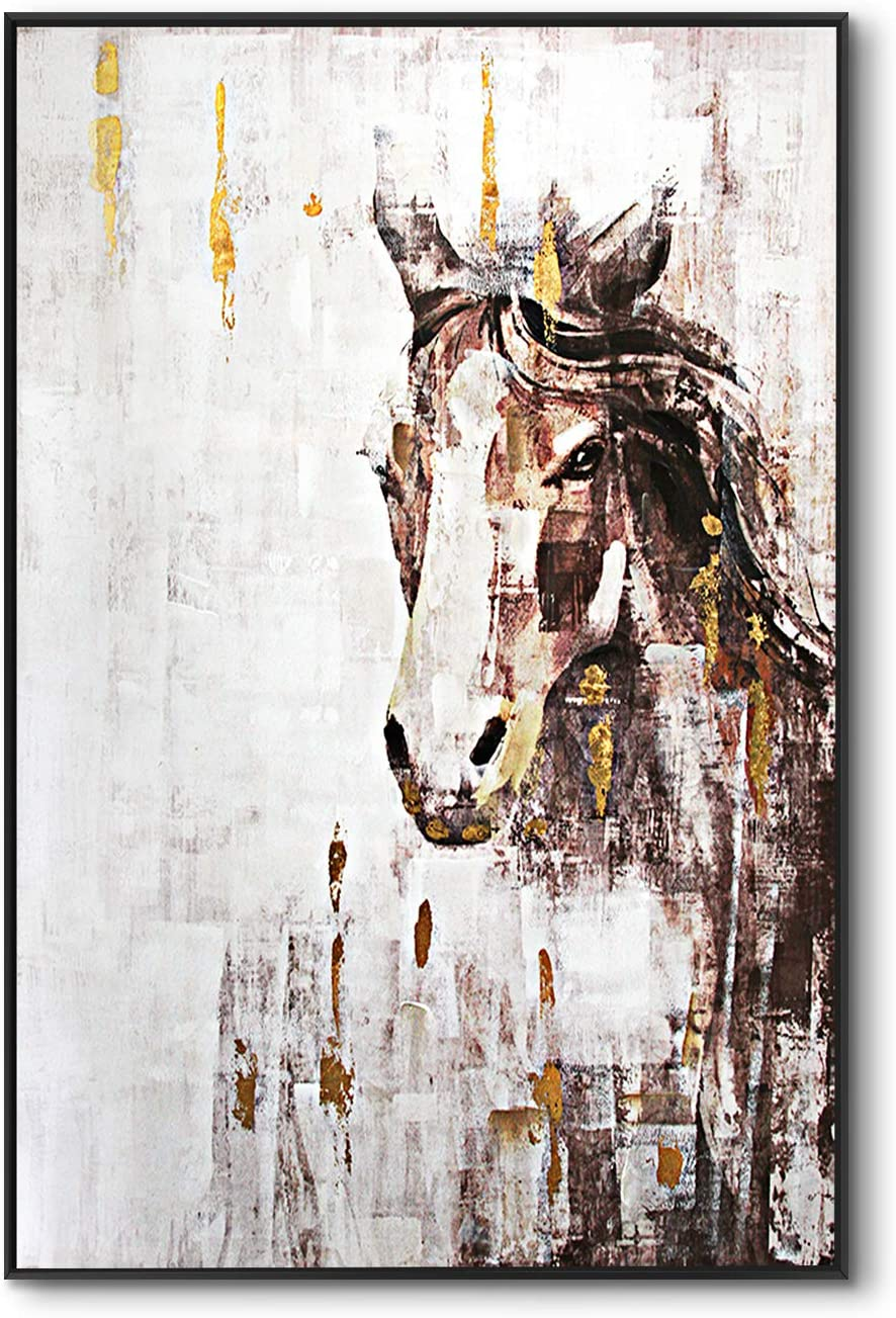 lampig Horse Wall Art Stallion Pictures Wall Decor Hand Painted Oil Paintings Large Brown Gold Animal Canvas Prints Vertical Farmhouse Artwork for Living Dining Room Bedroom Hallway Walls 32