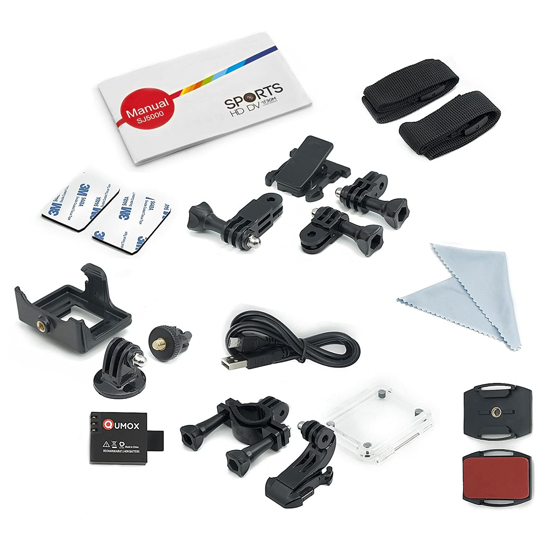 QUMOX SJ5000, Action Sport Kamera, Weiß, - Kamera wasserdicht , Full HD, 1080p Video, Helmkamera mit Verbesserten Batterien und Zubehör Kits