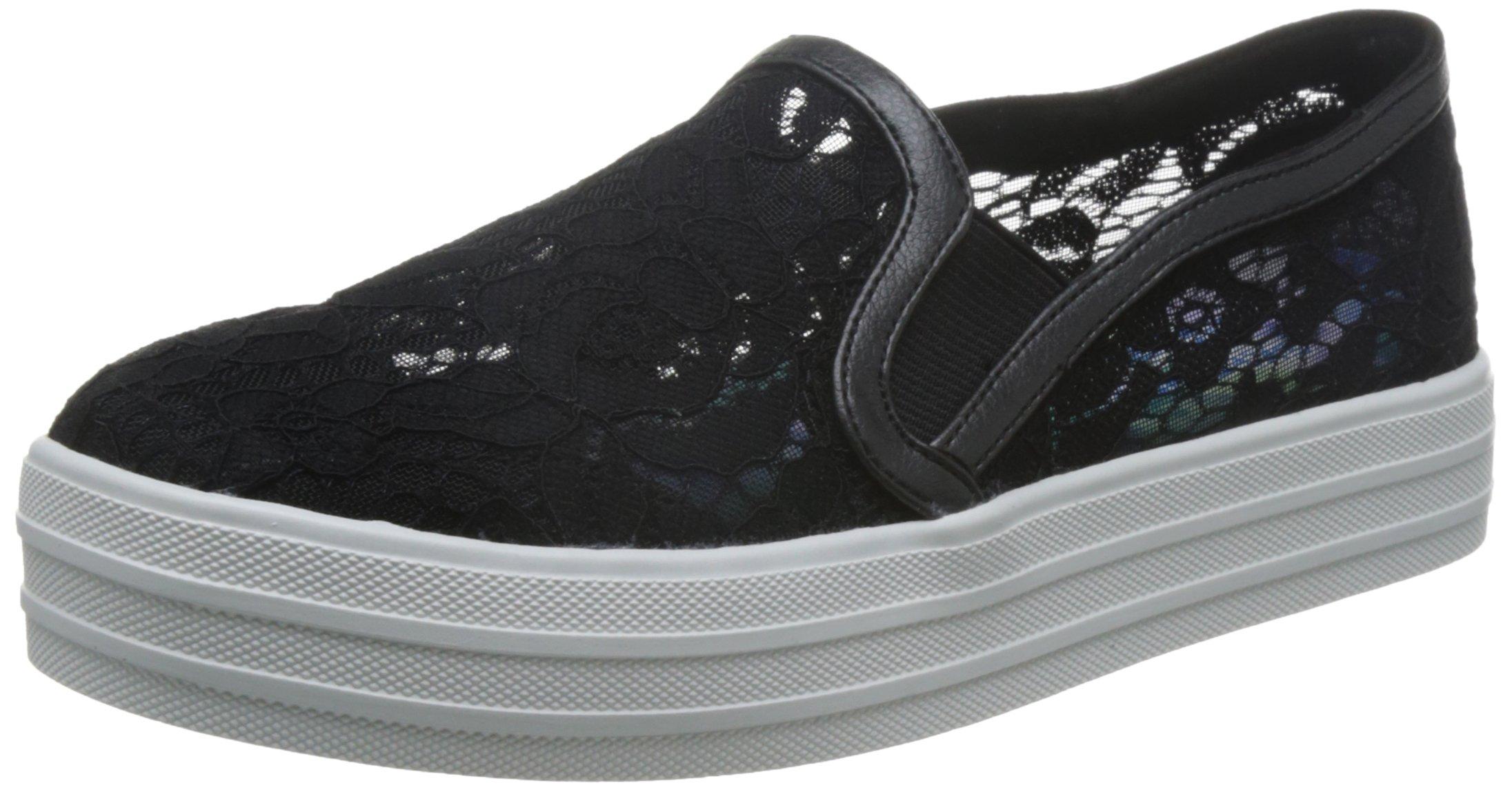 Skechers Women's Double Up Flora Flatform Slip-On Sneaker,Black,US 5 M