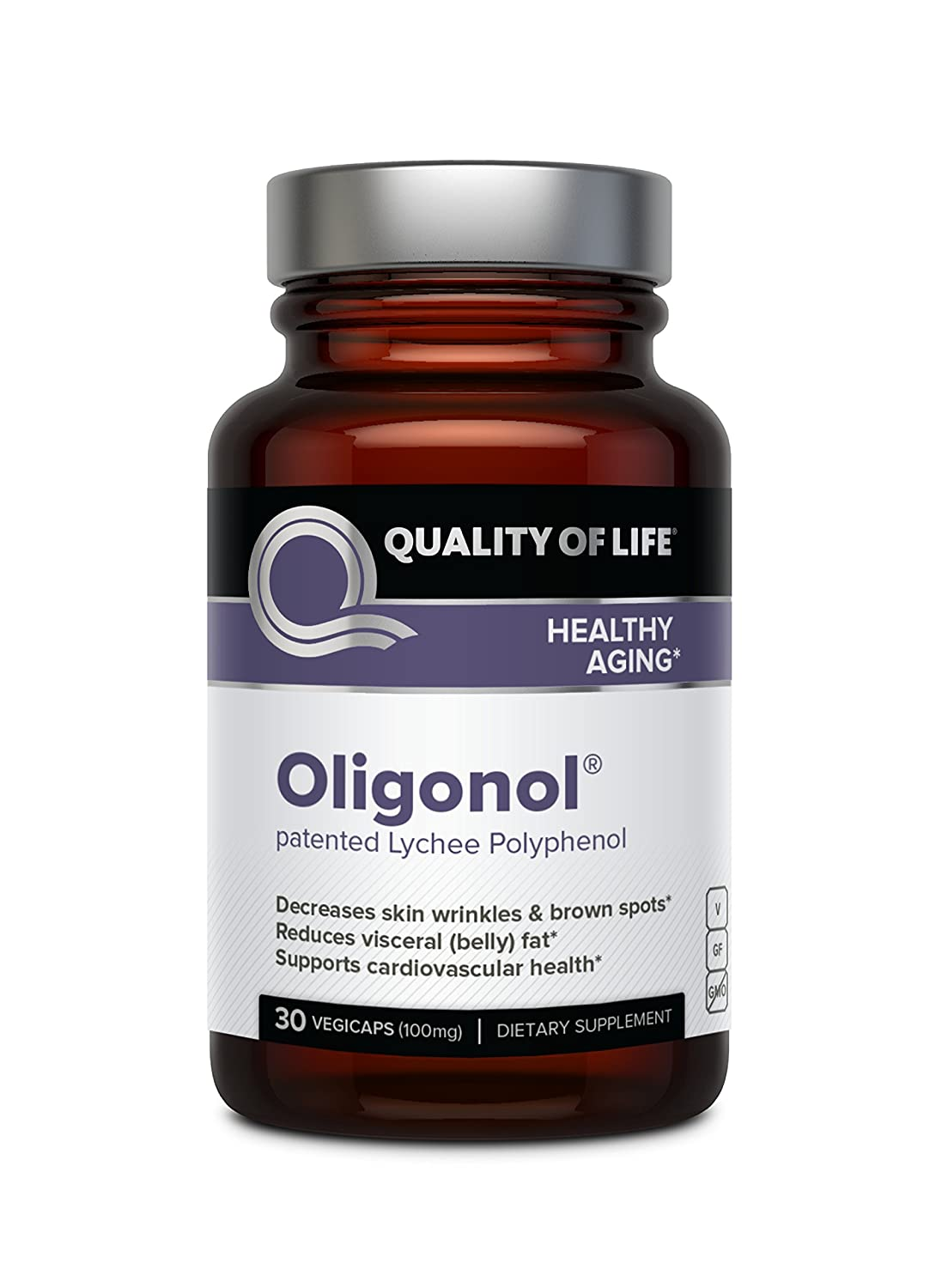 Quality of Life Oligonol Premium Anti Aging Supplement-Supports Cardiovascular Health Youthful Skin, Circulation, Weight Loss, 30 Vegicaps 100mg