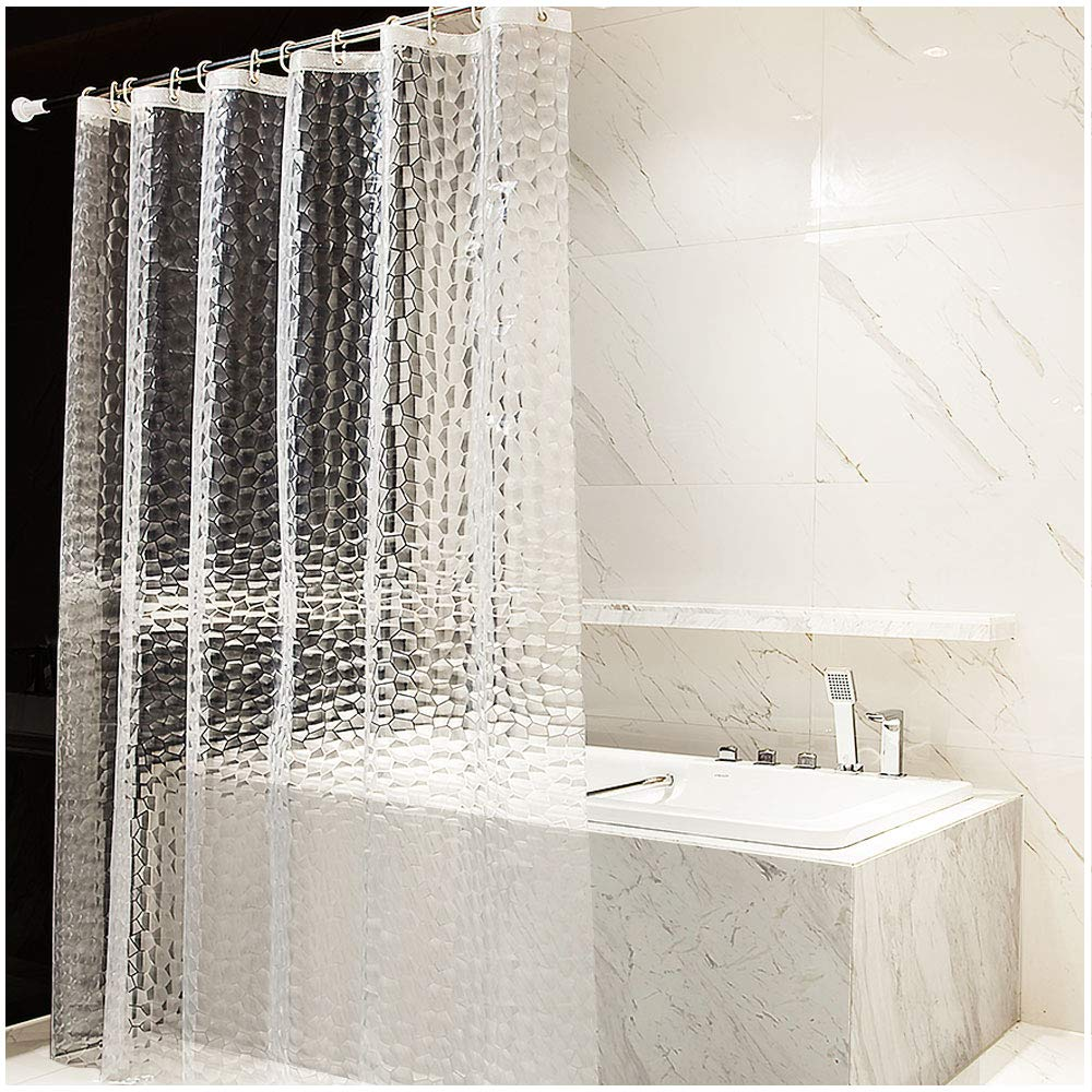 OTraki 3D Effect Shower Curtain 180 x 120 cm Curtains for Bathroom EVA Anti-Mildew Water Proof Bath Curtains with 8 Holes 12 Hooks Cortina Bano Translucent Clear 3D Cube Pattern 72 x 47 Inch