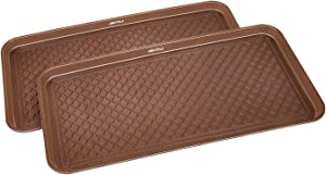 GREAT WORKING TOOLS Boot Trays - Set of 2 Brown All Weather Heavy Duty Shoe Trays, Pet Bowl Mats Trap Mud, Water and Food Mess to Protect Floors - Brown, 30