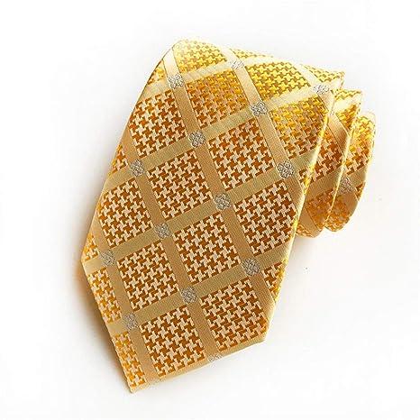 XJIUER corbata Clásicos Hombres Corbatas de Seda a Cuadros Dorados ...