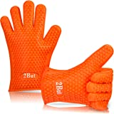 BBQ Oven Gloves | Heat Resistant Grill Gloves | Silicone Gloves| Insulated Silicone Oven Mitts For Grilling | Waterproof | Full Finger, Hand, Wrist Protection |one size fits most