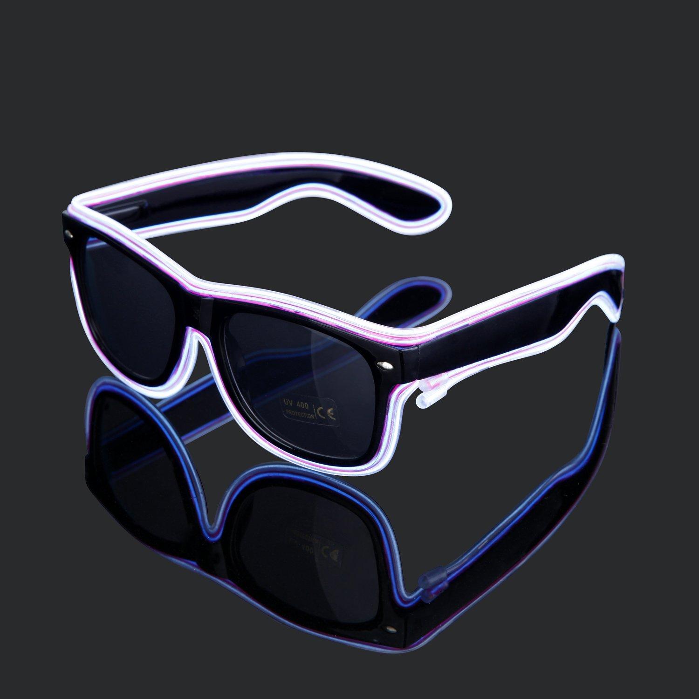 Amazon.com: Generic EL Wire Rave Glasses Neon Light Up Glow flashing ...