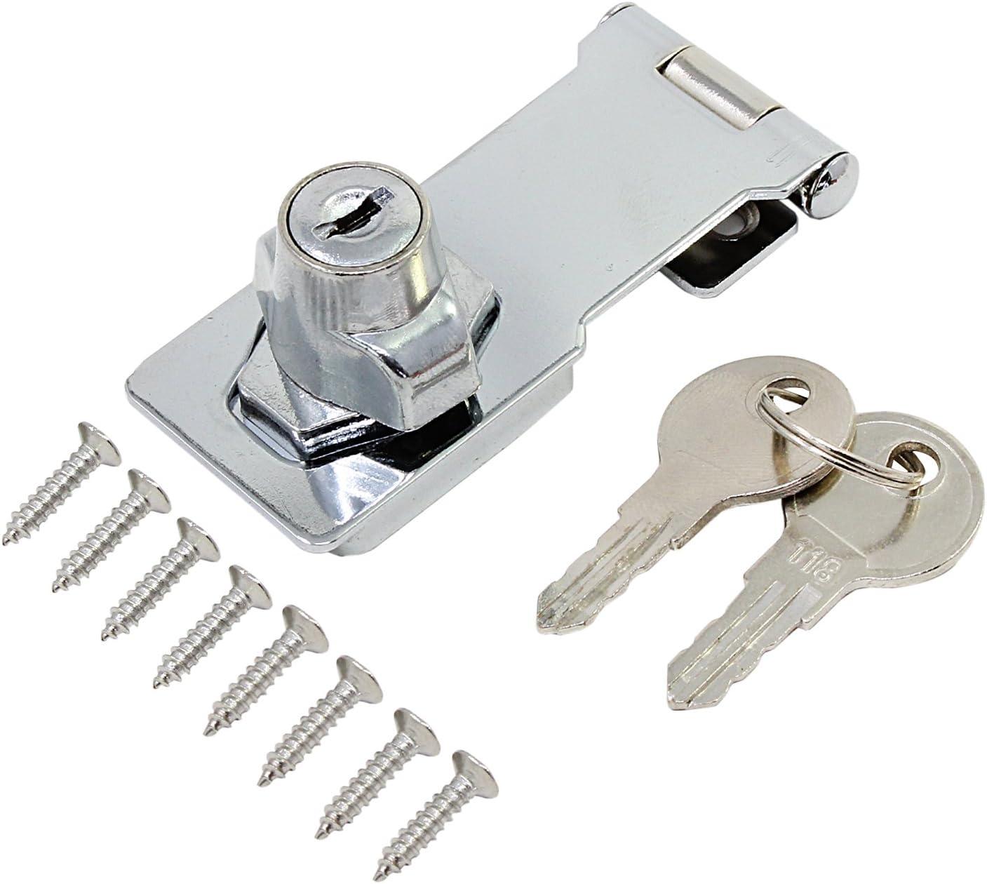 HSeaMall Cerradura de cerrojo con llave de 3 pulgadas Cerradura de cerradura con llave metálica con llaves para puertas Herrajes para muebles de armarios (con llaves)