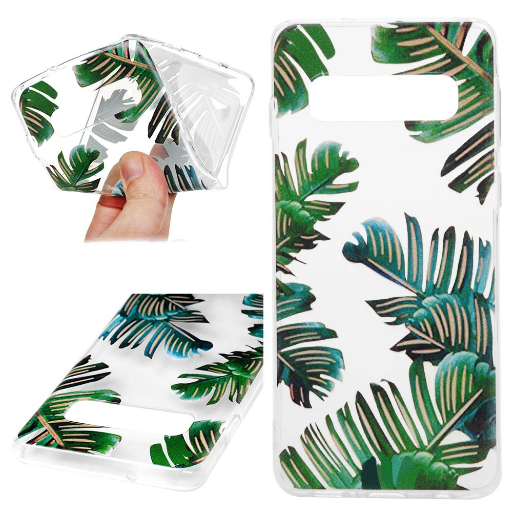 Galaxy S10 Case, Cover Ultra Slim HD Clear & Full TPU Soft Frame Hybrid Shockproof Bumper Drop Pretective Skin Shell for Galaxy S10, Banana Leaf by SUPWALL (Image #3)