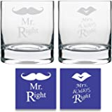 YaYa Cafe Anniversary Gifts for Couple, Engraved Mr Right Mrs Always Right Couple whiskey glasses Set of 4 for Anniversary husband Wife with Coasters - Stelvio 325 ml