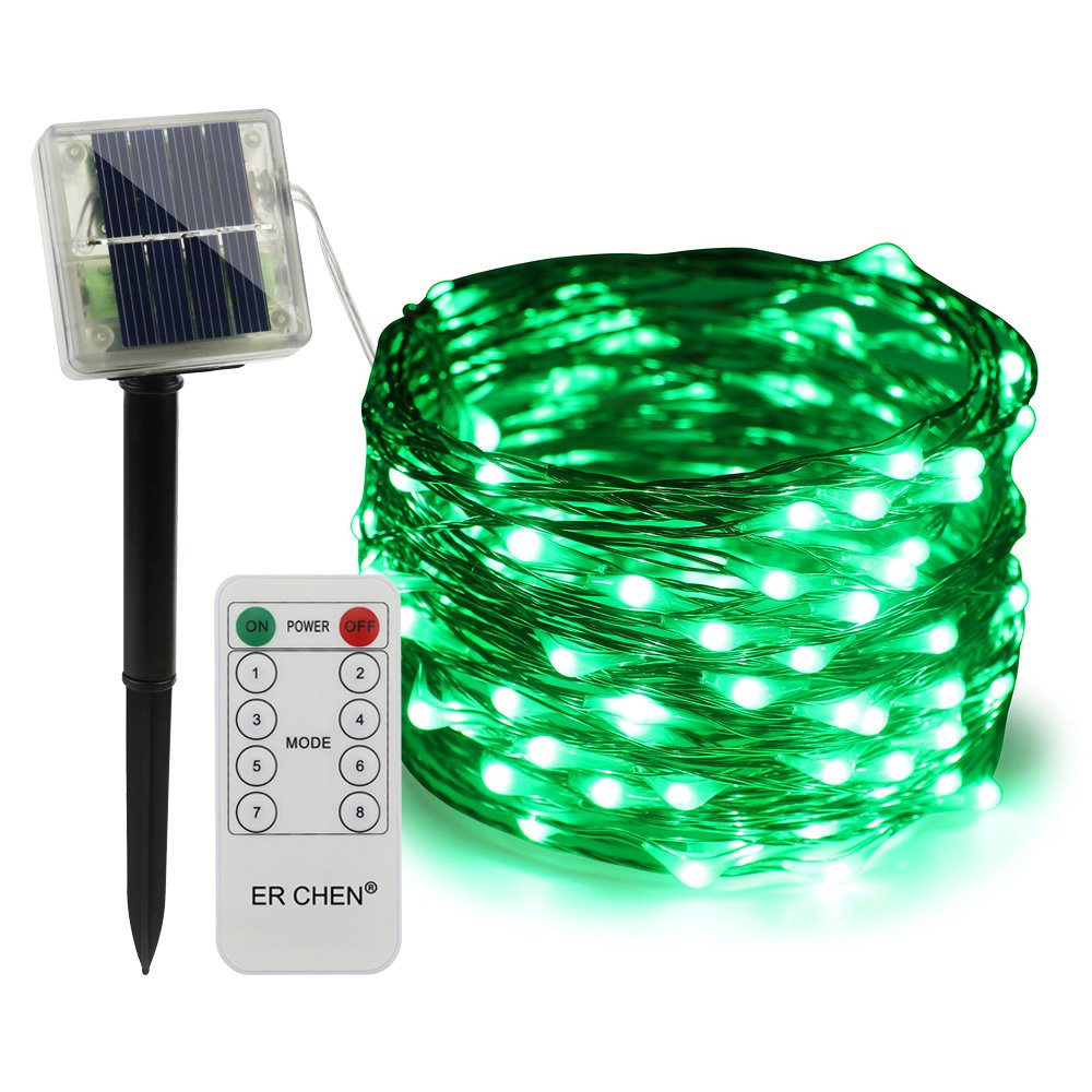ErChen Remote Control Solar Powered Led String Lights, 33FT 100 Leds Copper Wire Waterproof 8 modes Decorative Fairy Lights for Outdoor Christmas Garden Patio yard (Green)