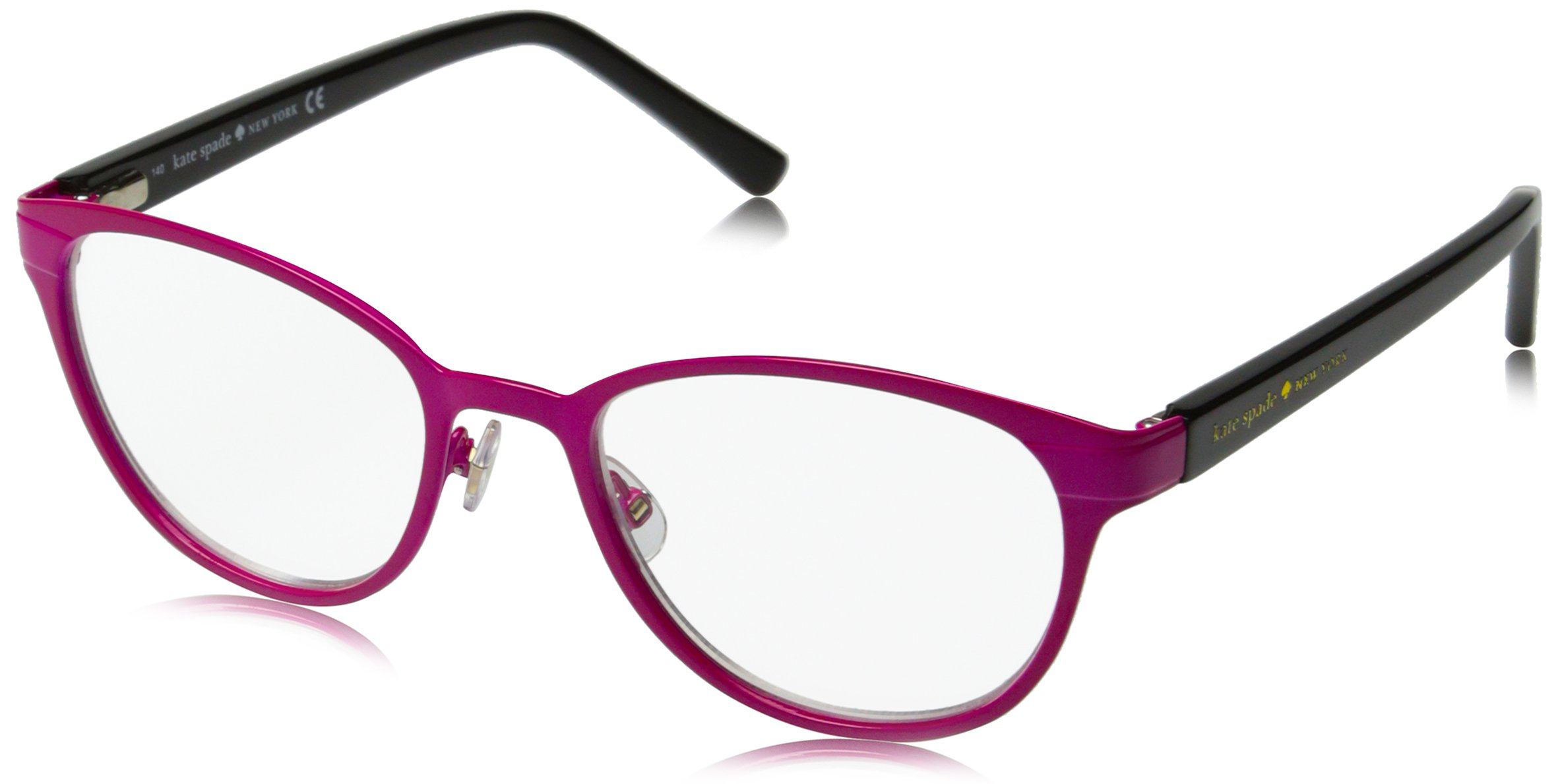 Kate Spade Women's Ebba Oval Reading Glasses, Pink Black 2.0 & Clear, 2