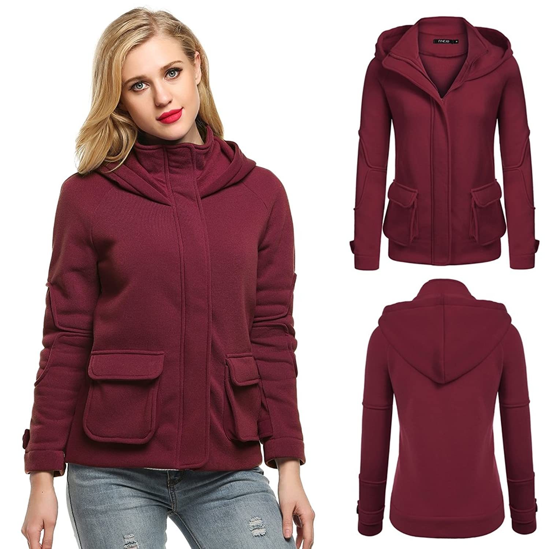 Celltronic Women's Fashion Long Sleeve Zip-up Hoodie Solid Fleece Hooded Jacket Coat