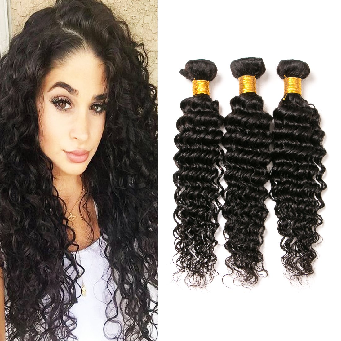 tissage bresilien lisse lot de 4 deep wave curly 10a real cheveux bresilien tissage human naturel lisse paquets(22 24 26 28 inches) Xuchangjiujiuji