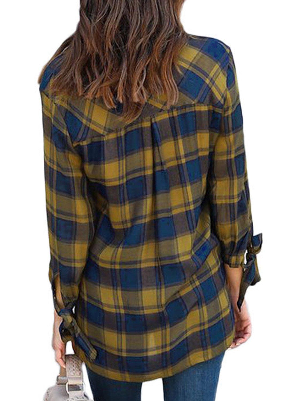 Astylish Women Casual Plaid V Neck 3 4 Long Sleeve Blouses and Tops Shirts Yellow Medium by Astylish (Image #3)