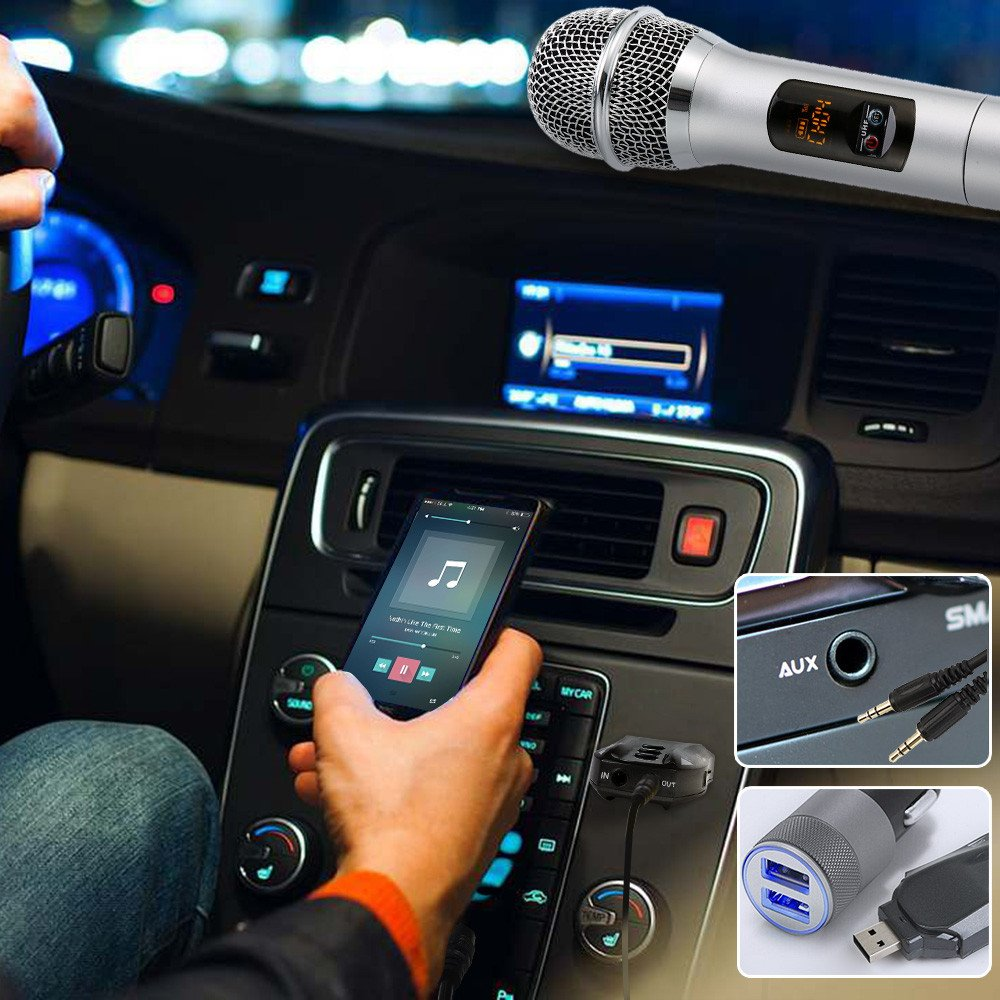 Umiwe Portable Handheld Bluetooth Mic Speaker Car Cordless Microphone for Conference Party Karaoke Outdoor Wedding with Receiving Box Wireless Karaoke Microphone