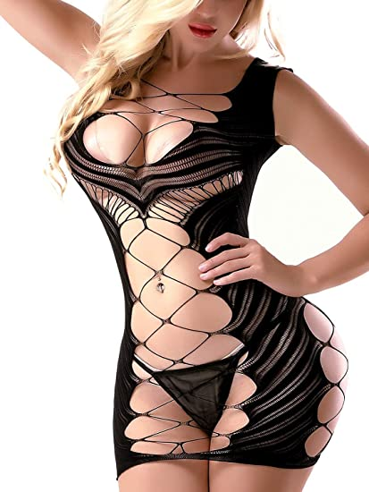 5a25f014227 VivilY Sexy Lingerie Chemises Babydoll Mini Dress Fishnet Bodysuit See  Through Nightie at Amazon Women s Clothing store