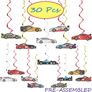 Racing Car Party Foil Swirls Streamers Photo Booth Props Kit - 30 Pcs Room Hanging Decorations Happy Birthday Childrens Kids Favors Party Supplies - NO DIY REQUIRED