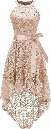 AVSUPPLY Women's Halter Floral Lace Cocktail Party Dress Hi-Lo Bridesmaid Dress