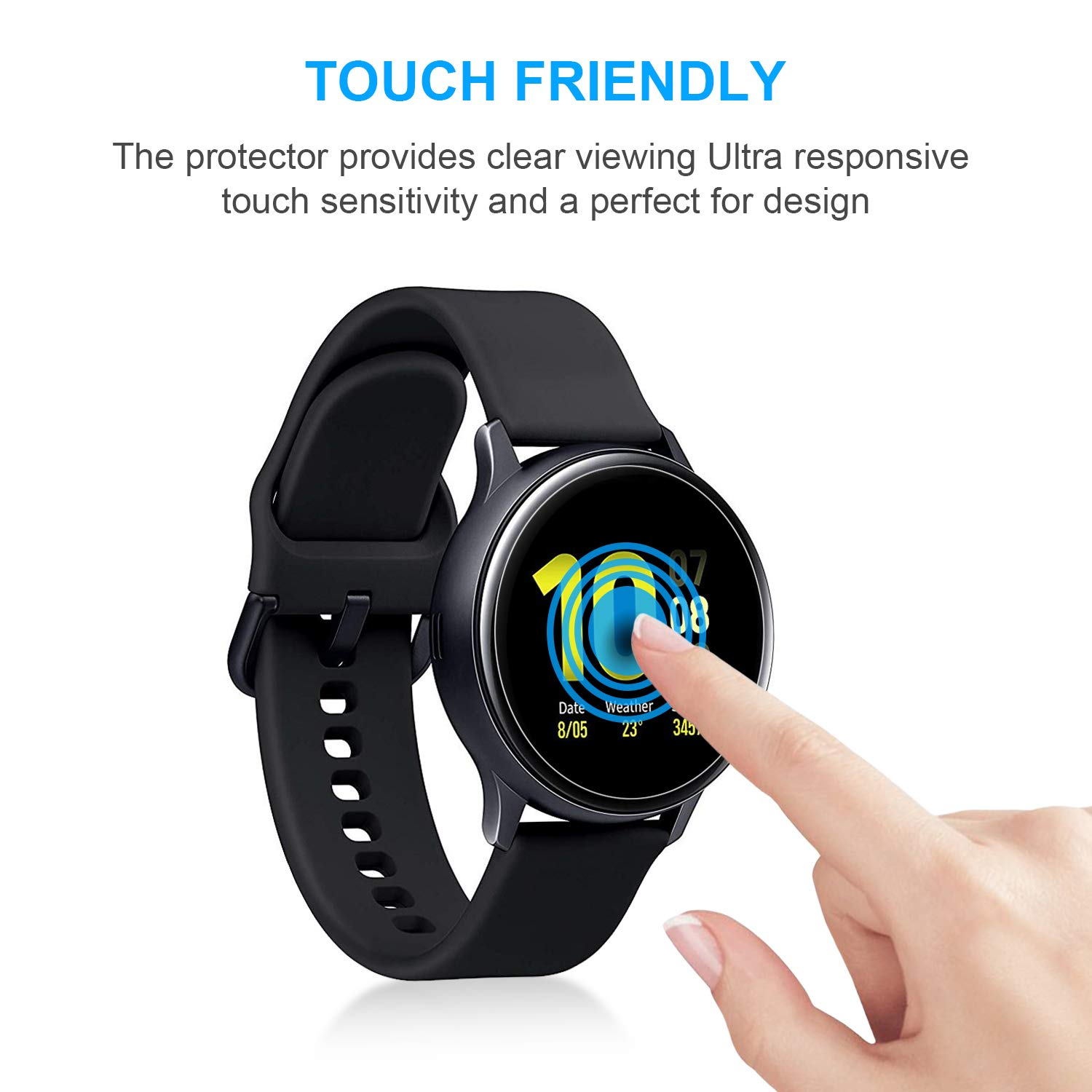 [6 Pack] Screen Protector for Samsung Galaxy Watch Active 2 (44mm), Anti-Scratch, Bubble Free, HD Clear Flexible Film for Galaxy Active Watch 2 44mm