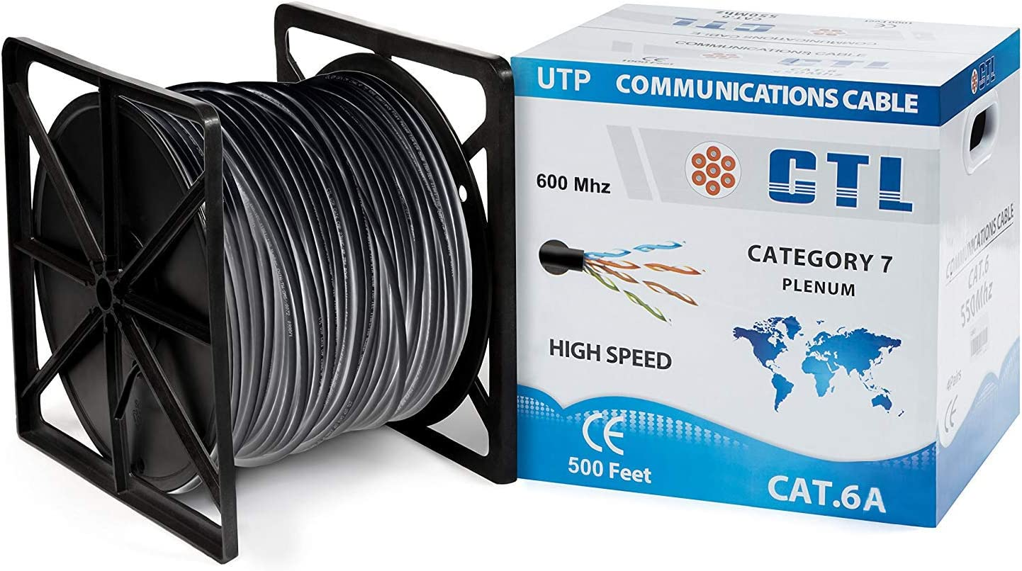Black UTP 50feet Cable PcConnectTM CAT6A 500MHz with Molded Boot