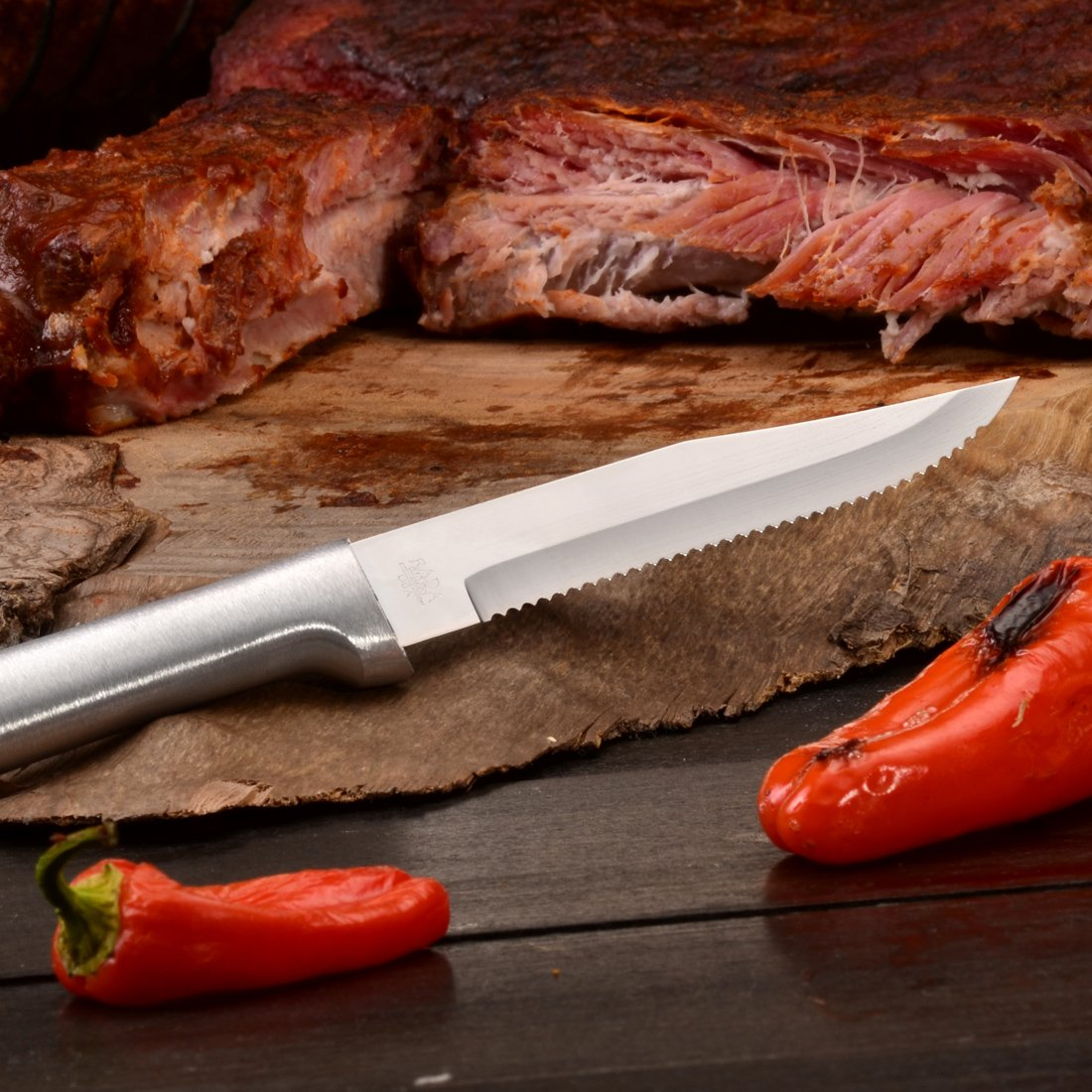 Rada Cutlery Serrated Steak Knife Set - Stainless Steel Knives With Aluminum Handles, Set of 6 by Rada Cutlery (Image #5)