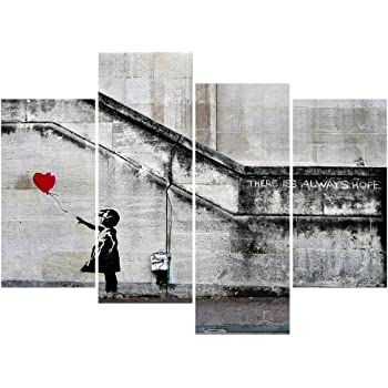 Amazon.com: Wall26 - There Is Always Hope Banksy Street Art - Canvas ...