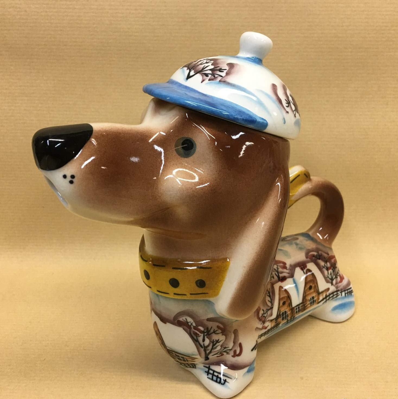 Teapot Dachshund  dog porcelain figurine handmade statue