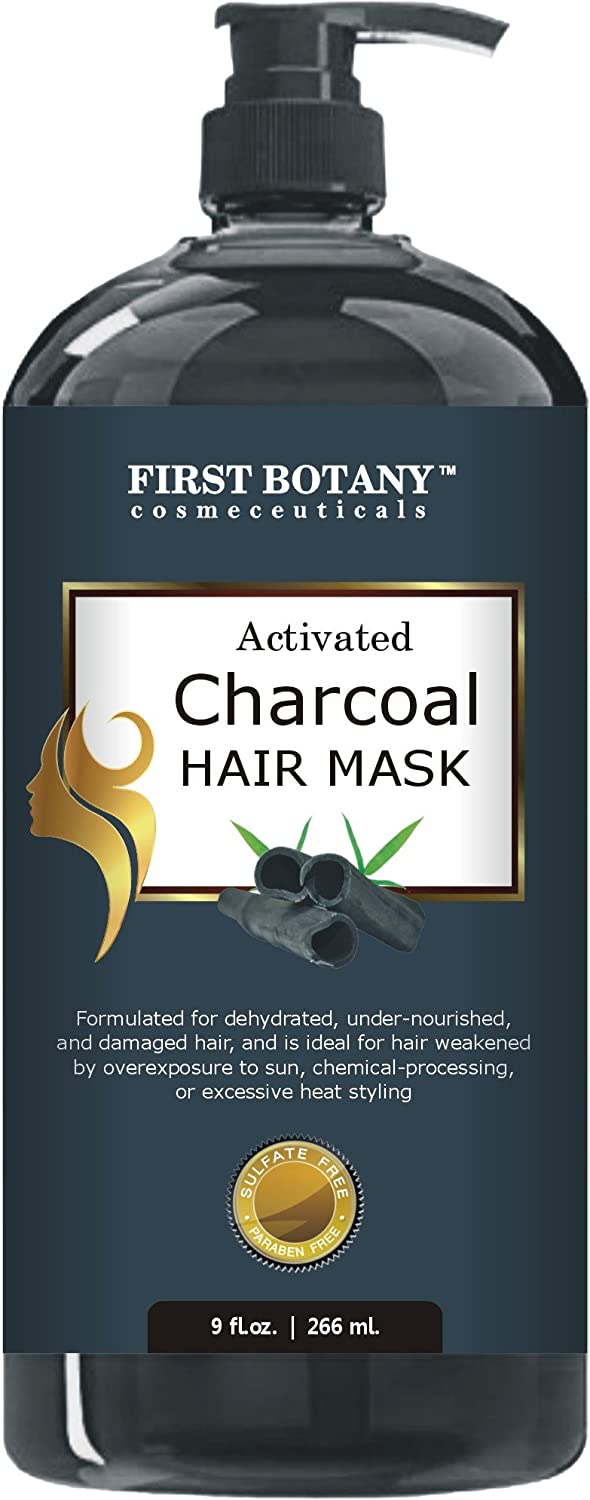 Activated Charcoal Hair Mask, 9 fl. oz. Restorative Hair Mask, Deep Conditioner for Damaged & Dry Hair, Promotes Natural Hair Growth, Nourishes Scalp, Removes Residue Buildup, Detangler& Sulfate Free Private Label Cosmetics Coorp