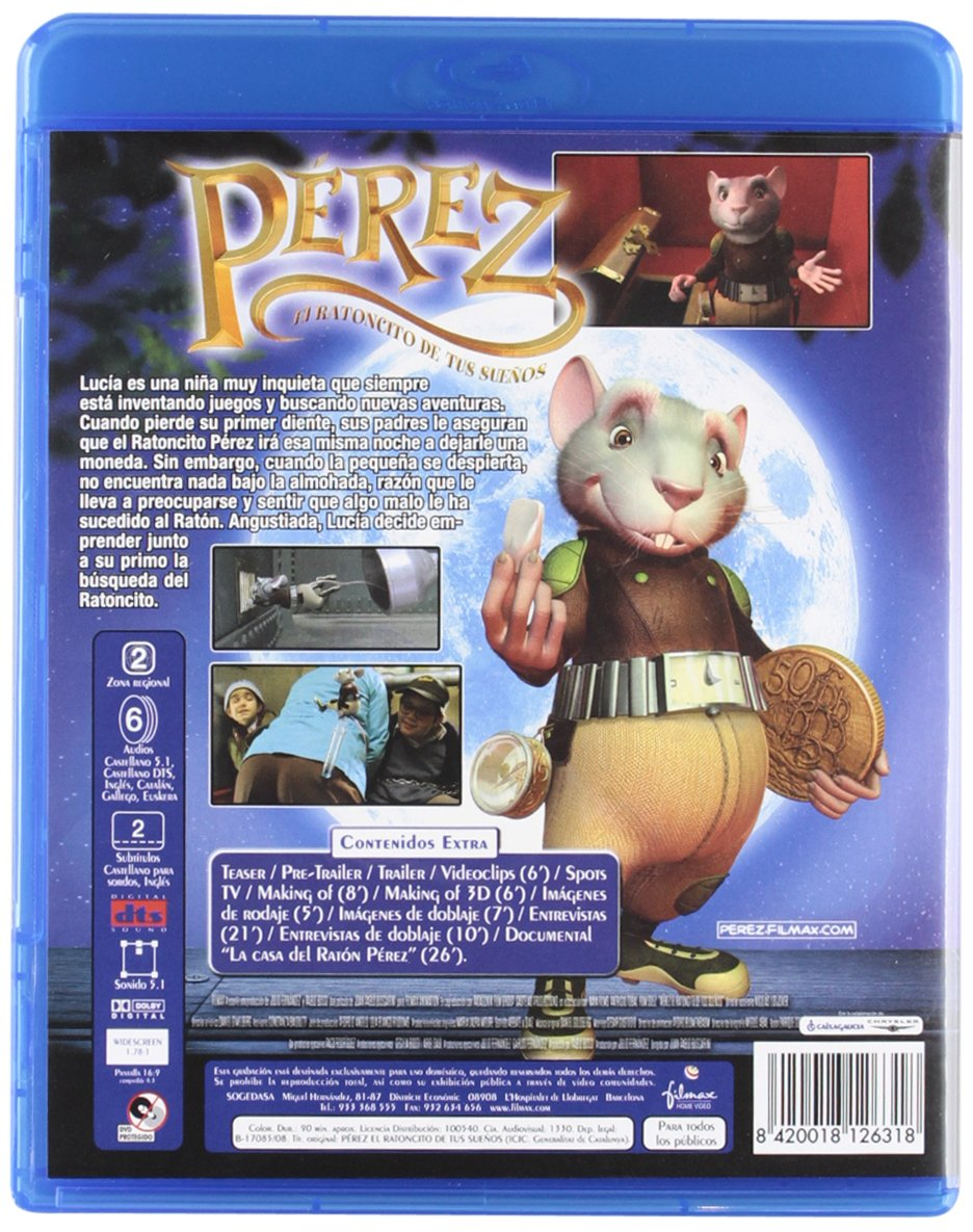 Amazon.com: The Hairy Tooth Fairy (2006) ( El ratón Pérez ) ( Pérez, el  ratoncito de tus sueños ) [ Blu-Ray, Reg.A/B/C Import - Spain ]: Alejandro  Awada, ...
